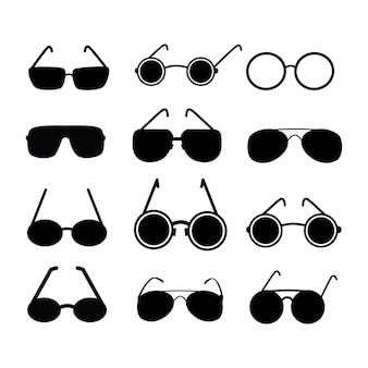 Oculaire d'icônes vectorielles. silhouettes de couleur noire.