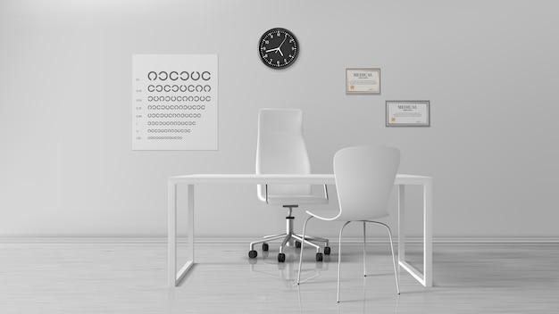 Oculist office, intérieur de cabinet d'optométriste vide