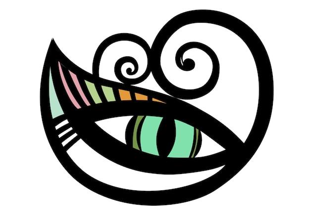 Oeil de chat vert isolé sur illustration vectorielle blanc