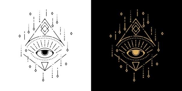 Oeil avec conception de monoline de tatouage géométrique ornement