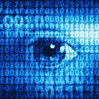 Oeil dessiné avec des codes binaires