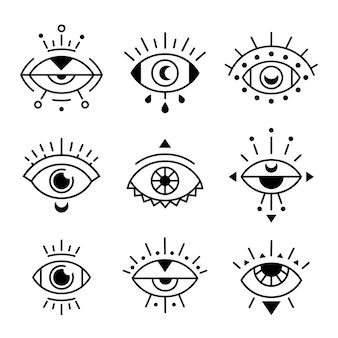 Oeil doodle symboles illustration décorative jeu d'icônes