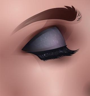 Oeil Féminin Avec Maquillage, Illustration De Mode Réaliste Vecteur Premium