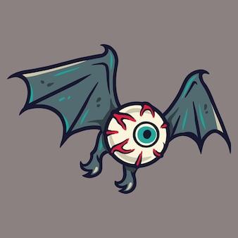 Oeil ou globe oculaire effrayant effrayant avec des ailes pour la conception de vacances d'halloween