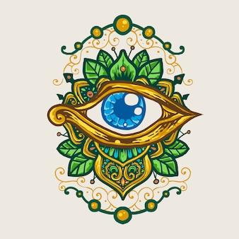 Oeil d'horus illustration dessinée à la main