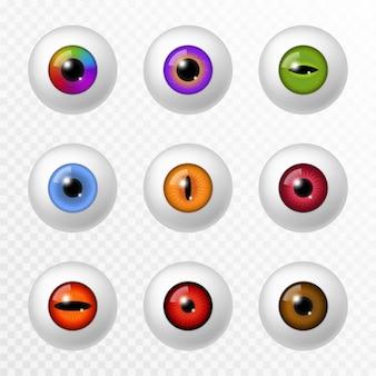 Oeil humain et animal. globe oculaire et lentilles de différentes couleurs réalistes, diverses rétines et pupilles rondes de l'iris. lentille optique, ophtalmologie 3d vector set isolé