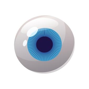 Oeil humain, couleur bleue, globe oculaire, icône. style de dessin animé illustration vectorielle