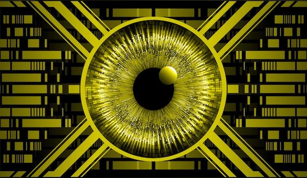Oeil jaune cyber-circuit futur concept de technologie