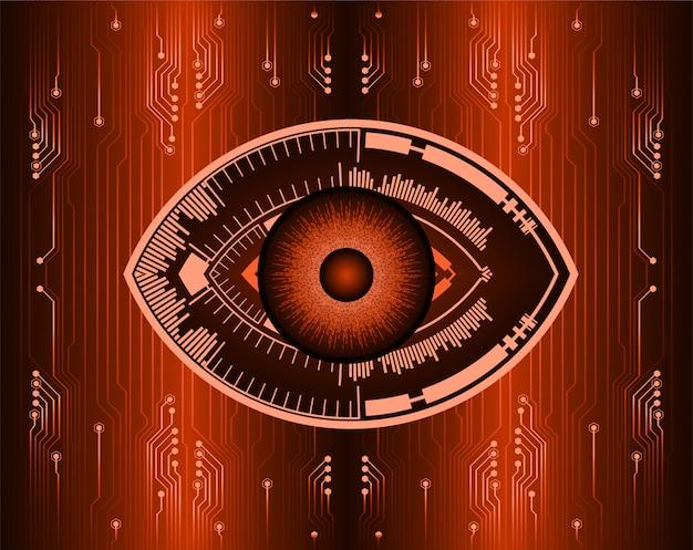 Oeil d'orange cybercircuit futur concept de technologie