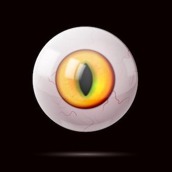 Oeil rond réaliste avec pupille allongée.