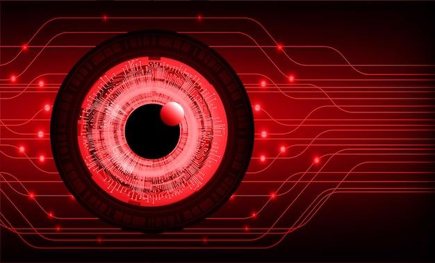 Oeil rouge cyber circuit futur technologie concept fond