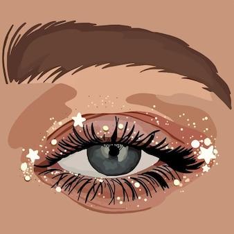 Oeil scintillant. illustration de mode vectorielle