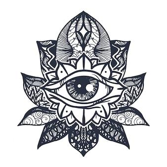 Oeil sur tatouage de fleur de lotus