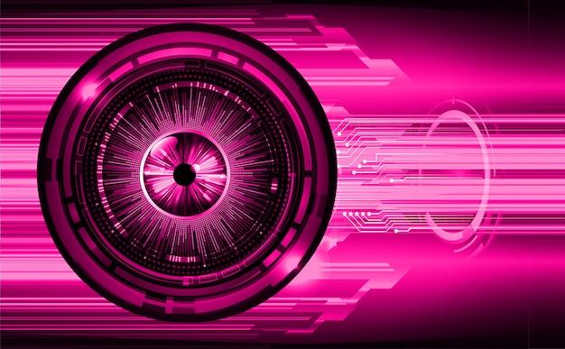 Oeil violet cyber-circuit futur technologie concept fond