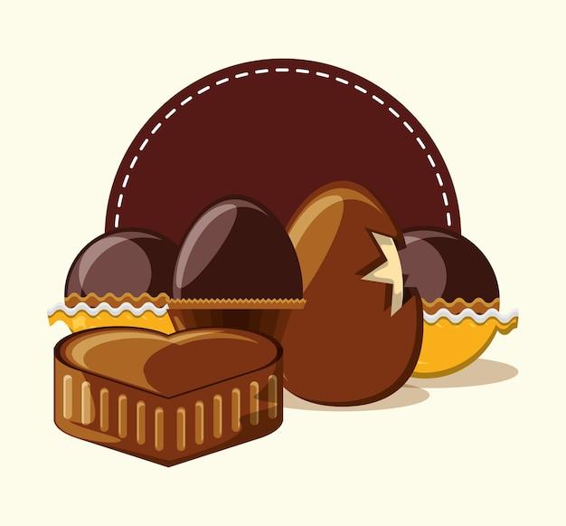 Oeuf au chocolat et coeur de chocolat aux truffes sur fond blanc