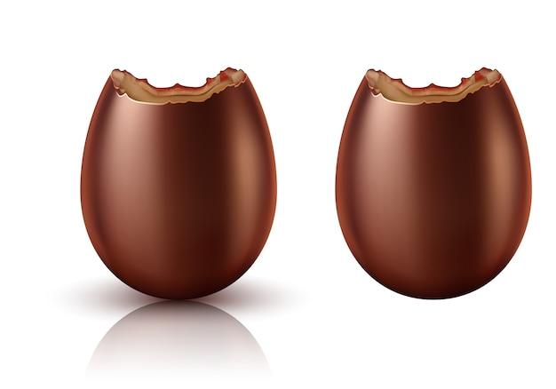 Oeuf au chocolat entier et mordu vecteur réaliste