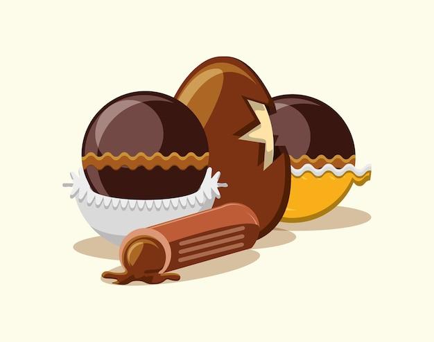 Oeuf au chocolat et truffes sur fond blanc