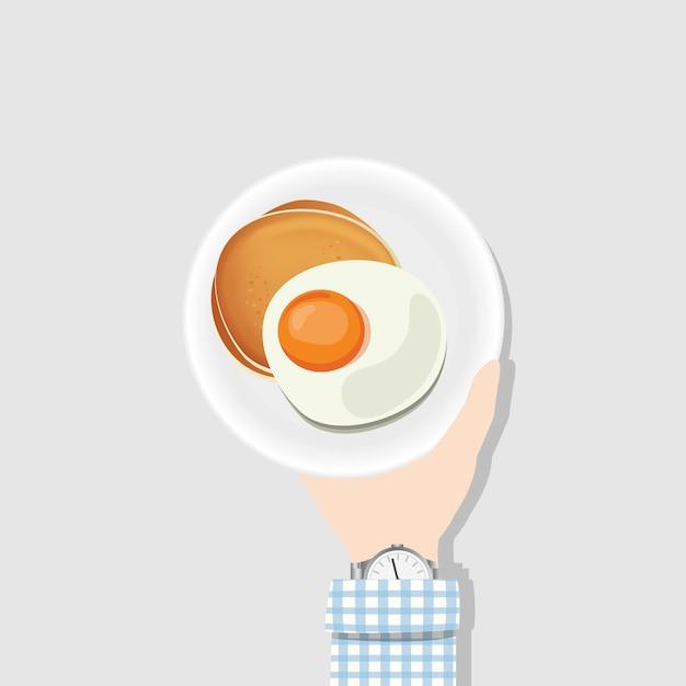 Oeuf au plat et des crêpes