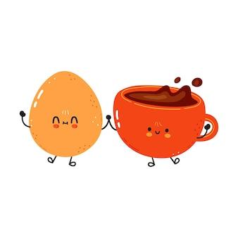 Oeuf au plat heureux mignon et tasse de café