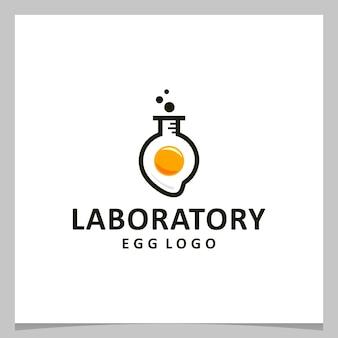 Oeuf de conception de logo d'inspiration avec le logo de laboratoire. vecteur de prime