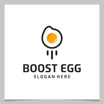 Oeuf de conception de logo d'inspiration avec logo de lancement ou de boost. vecteur de prime