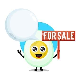 Oeuf à la coque à vendre mascotte de personnage mignon