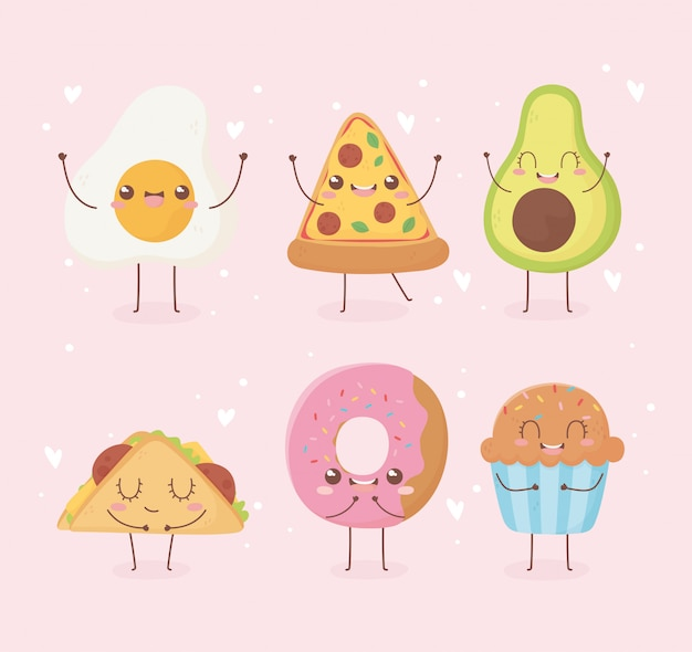 Oeuf frit pizza avocat beignet cupcake taco kawaii nourriture dessin animé personnage design