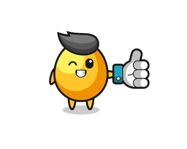 Oeuf d'or mignon avec le symbole du pouce levé des médias sociaux, design de style mignon pour t-shirt, autocollant, élément de logo