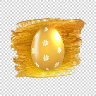 Oeuf de pâques avec éclaboussures de peinture et cadre doré