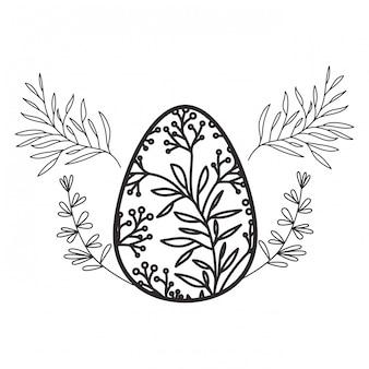 Oeuf de pâques fleurs et feuilles icône isolé