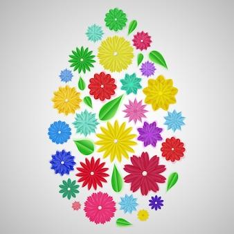 Oeuf de pâques de fleurs en papier colorées avec des ombres