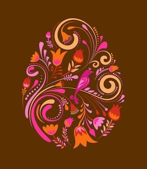 Oeuf de pâques floral rétro