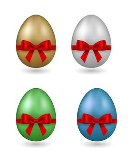 Oeuf De Pâques Avec Noeud Cadeau Rouge Et Ruban Isolé Vecteur Premium