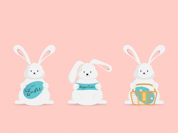 Oeuf de pâques et petit lapin en voeux de vacances.