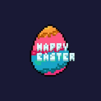 Oeuf de pâques de planète dessin animé pixel art avec texte