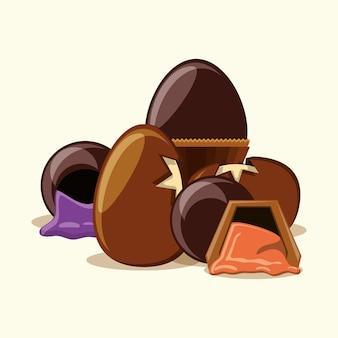 Oeufs au chocolat et truffes sur fond blanc