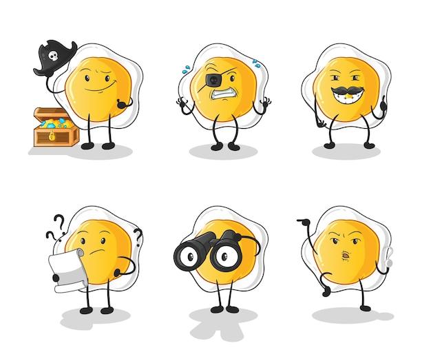 Les œufs au plat personnage du groupe pirate. mascotte de dessin animé