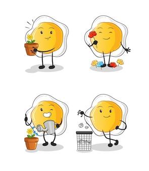 Les œufs au plat sauvent le groupe de la terre. mascotte de dessin animé