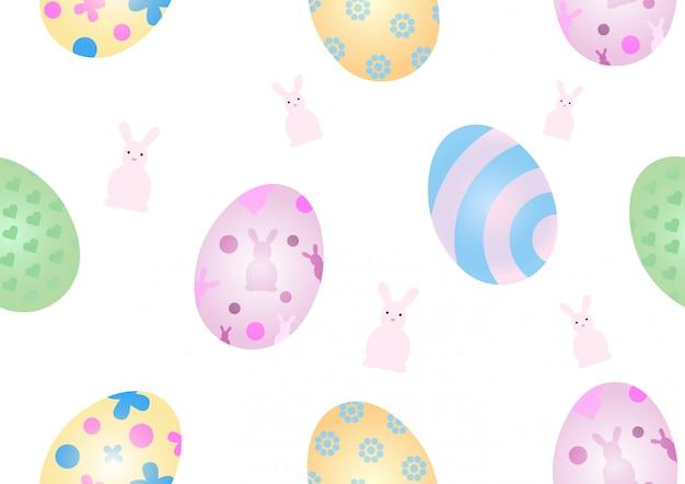 Oeufs colorés et de pâques avec motif de lapin mignon isolé. modèle sans couture et fond d'écran en vacances de pâques.