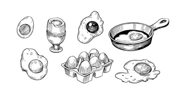 Oeufs croquis omelette oeufs brouillés croquis dessinés à la main vecteur contour noir