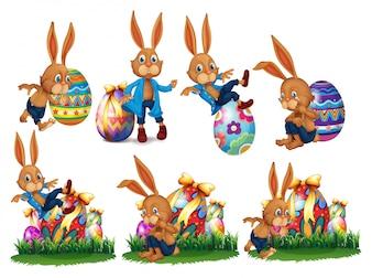 Oeufs de Pâques et drôle de lapin
