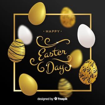 Oeufs décorés doré fond de jour de pâques