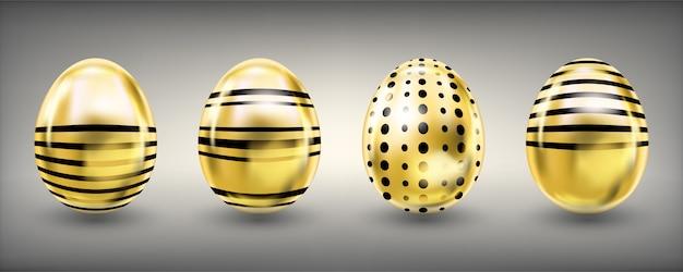 Œufs dorés brillants de pâques avec des rayures et des croix
