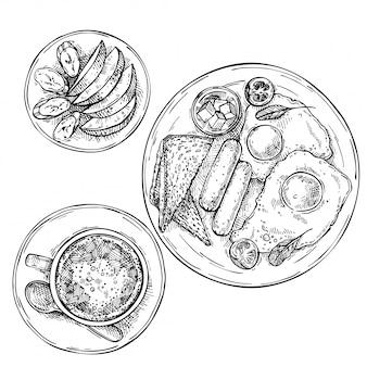 Oeufs frits dessinés à la main avec des saucisses, de la tomate, du beurre et des toasts.fruits en tranches sur une assiette: pomme et banane. tasse de thé, café, chocolat chaud sur plaque. croquis petit déjeuner vue de dessus.