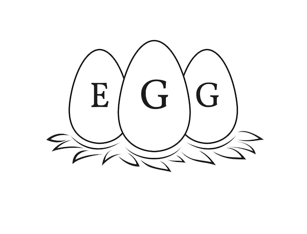 Oeufs sur paille pour élevage de poulets et logo de fermier d'oeufs