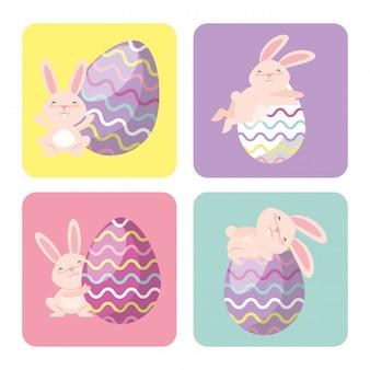 Oeufs de pâques et cadres de lapin