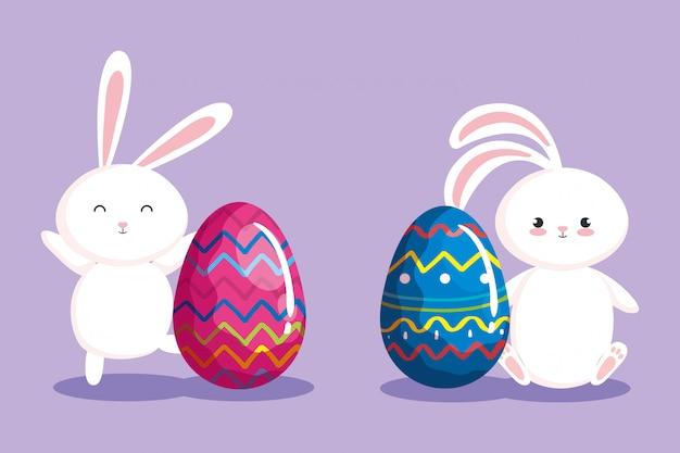 Oeufs de pâques décorés de lapins mignons