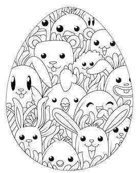 Oeufs de pâques dessinés à la main pour livre de coloriage