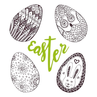 Œufs de pâques. doodle unique sertie de lettrage pâques. décoration de vacances pour carte de voeux. oeuf de zentangle.