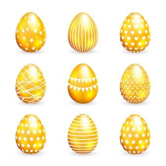 Oeufs de pâques dorés sur fond blanc. illustration